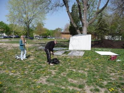 Volunteers Reassemble Shed April 22, 2010