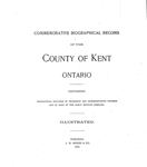 Commemorative Biographical Record of the County of Kent Ontario by J. H. Beers & Co.