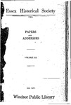 Essex Historical Society Papers And Addresses Volume 3